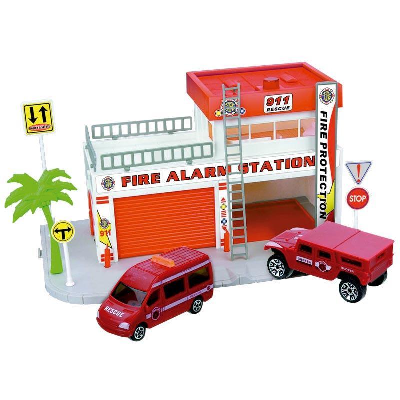 Pista circuito de bombeiros com 4 veículos
