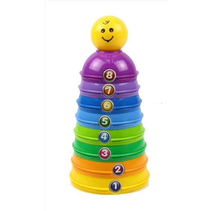 Brinquedo de empilhar com peças coloridas