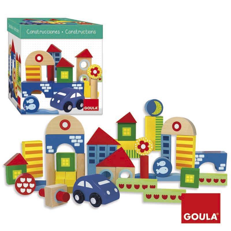 Jogo infantil blocos de construção de madeira