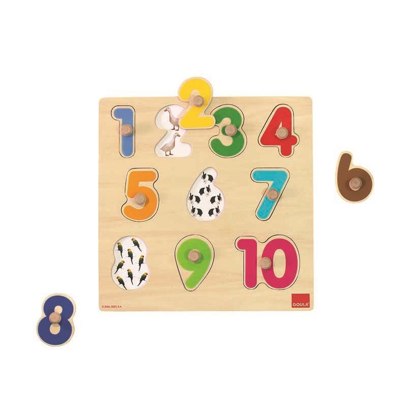 Puzzle de madeira números com pivôs