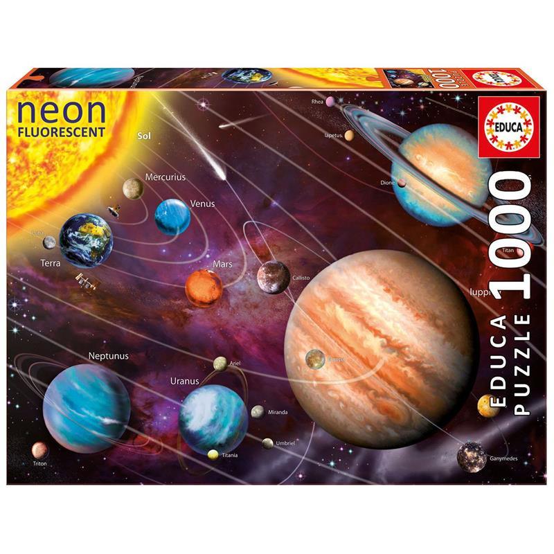 Educa puzzle 1000 sistema solar neón