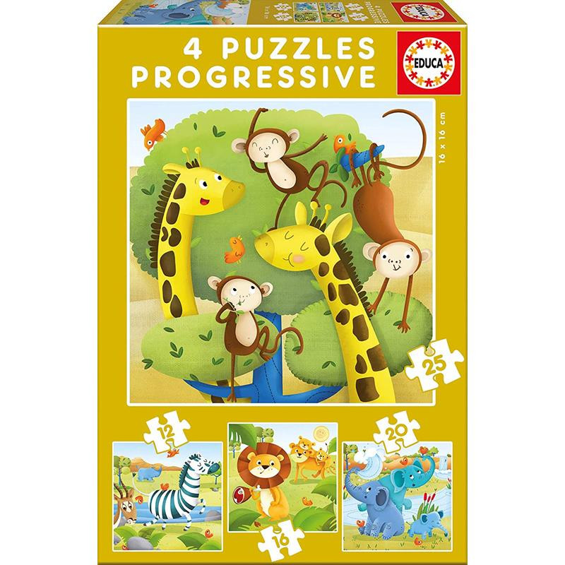 Educa puzzle progressivo animais salvagens