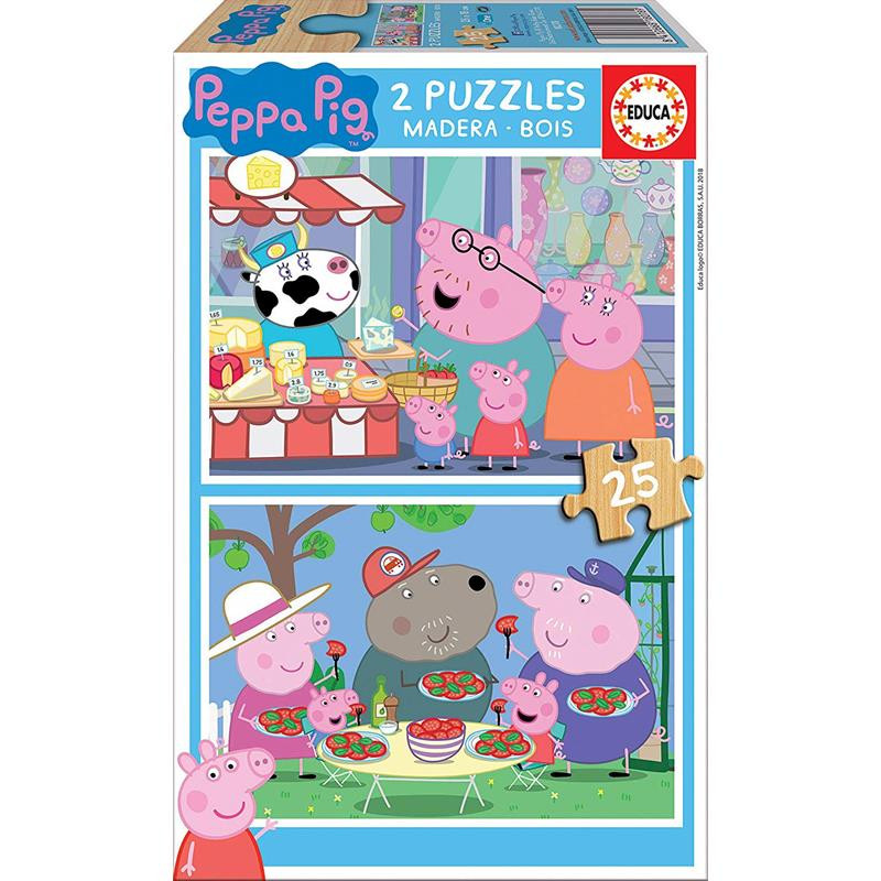 Educa Puzzle Madeira 2x25 Peppa Pig