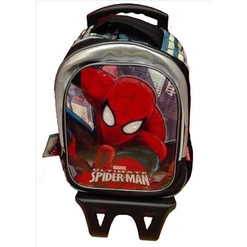 mochila escolar infantil homem de ferro com rodinhas vermelho