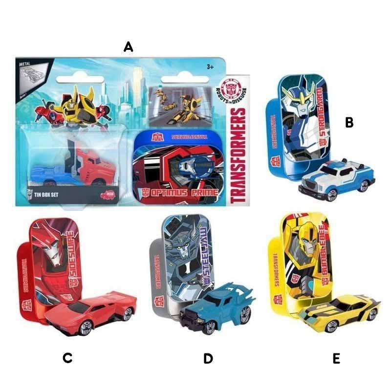 Transformers Veículos em caixa de metal 7cm