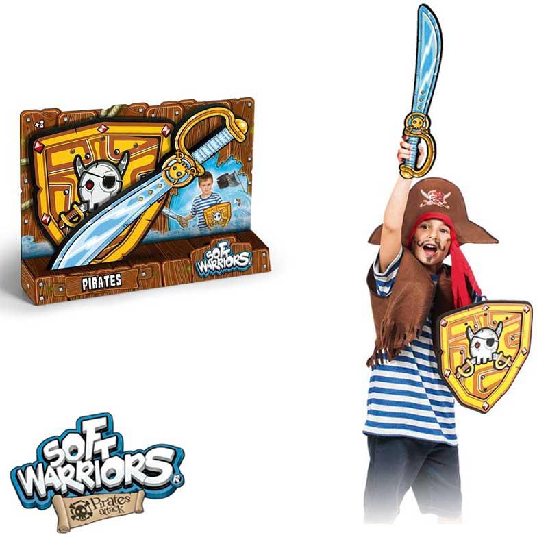 Espada e escudo pirata de espuma
