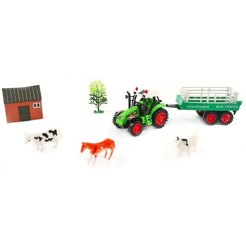 Trator de brinquedo com reboque e animais