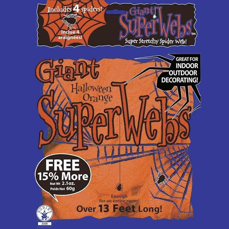 Teia de aranha gigante Halloween Laranja