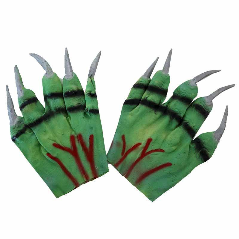 Luvas verdes com unhas