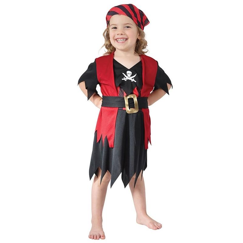 Disfarce infantil de menina pirata