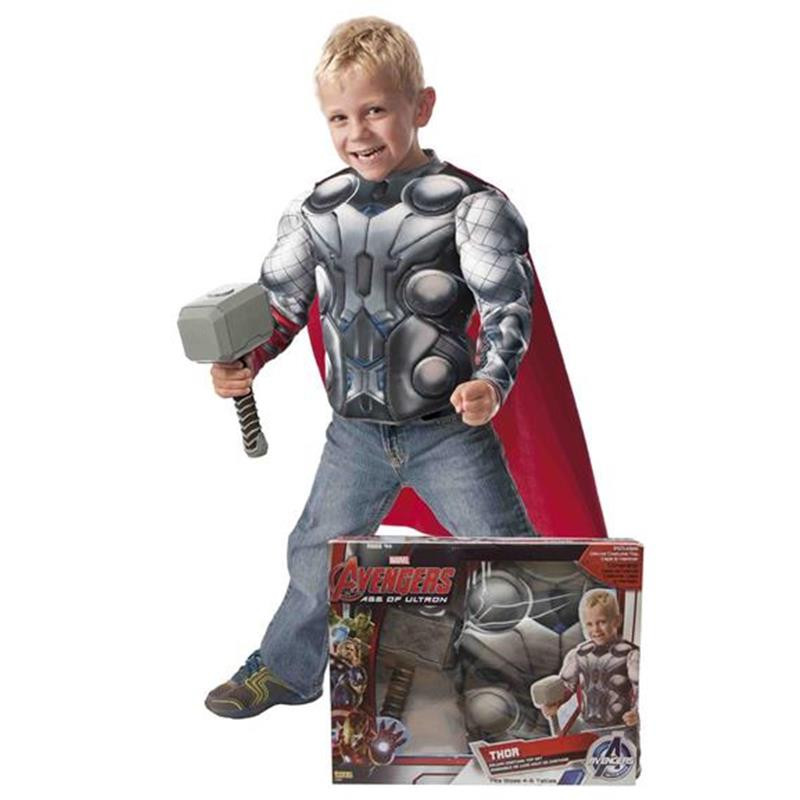 Disfarce Thor peito musculado e martelo infantil