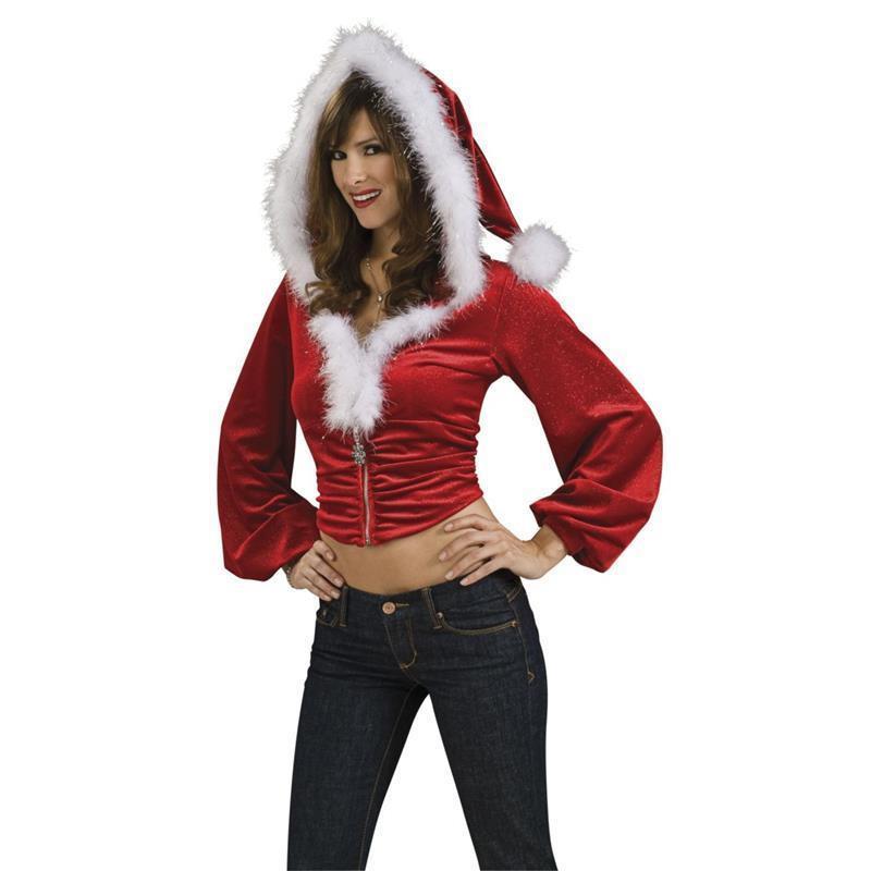 Top Mãe Natal com capuz vermelho adulto