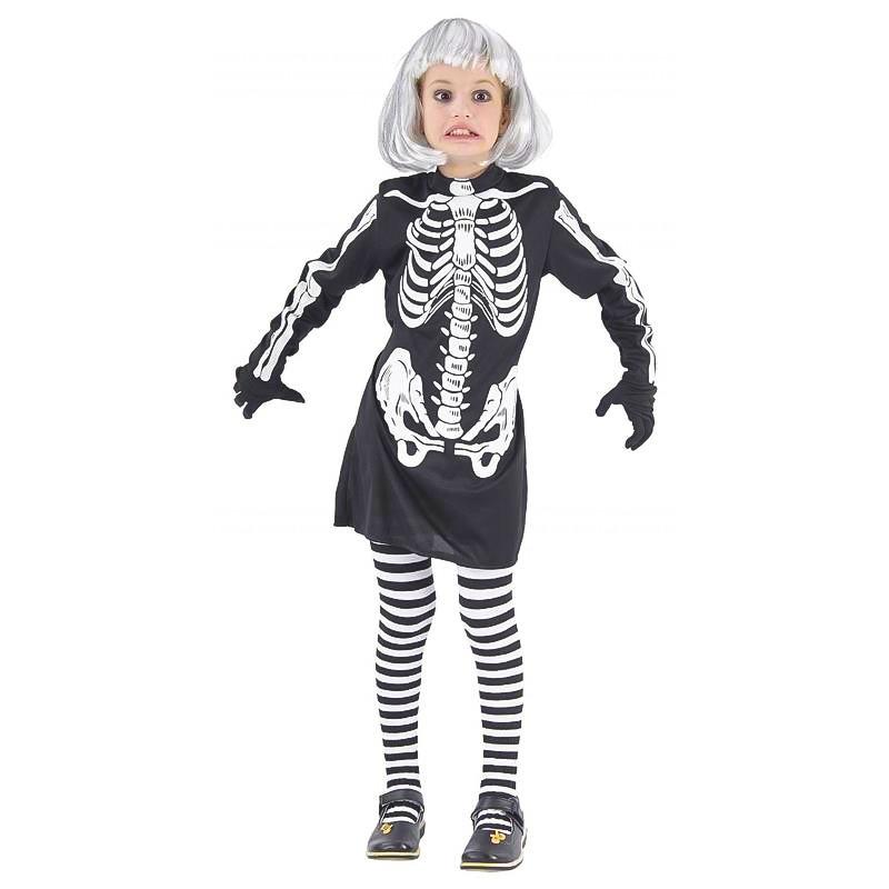 Disfarce menina esqueleto infantil