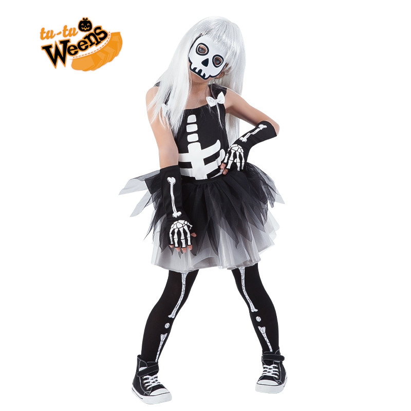 Disfarce esqueleto com tutu infantil