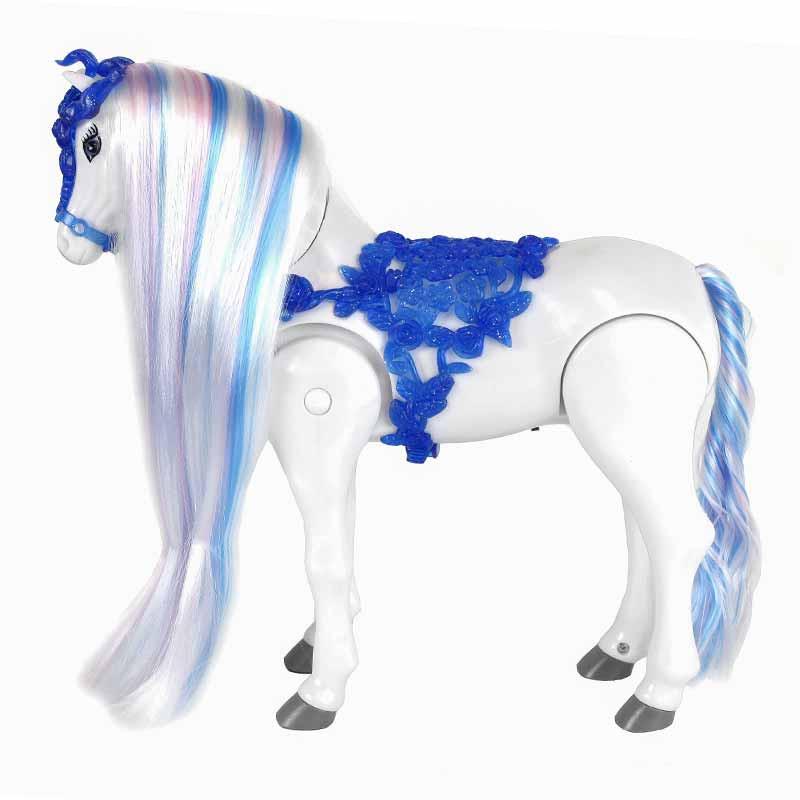 Cavalo de cabelo azul andador 25.5cm com sons