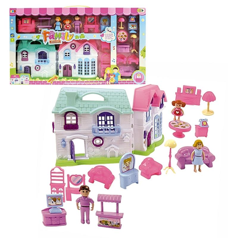 Casa de bonecas com mobiliário