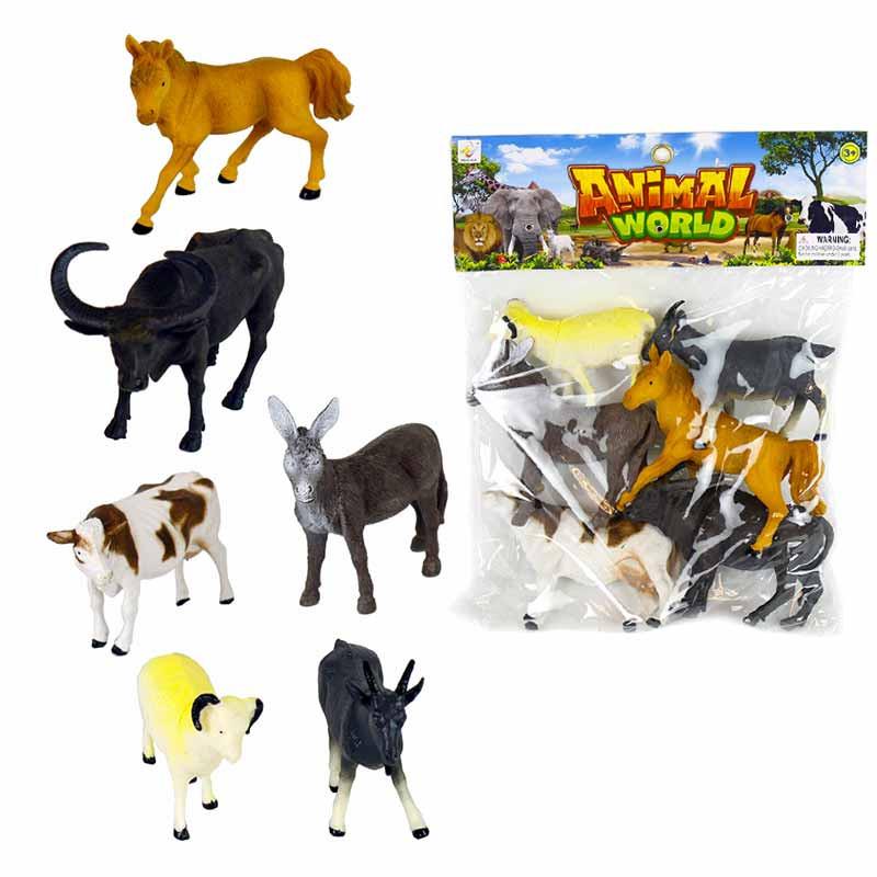Conjunto 6 animais 12-14cm pvc