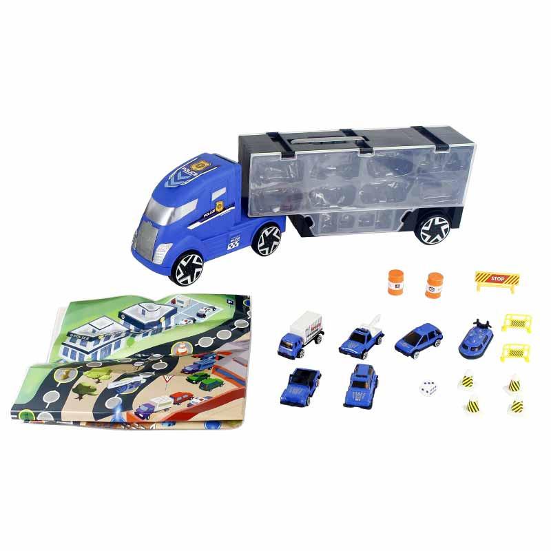 Camião 50cm transportador com mala e 6 veículos