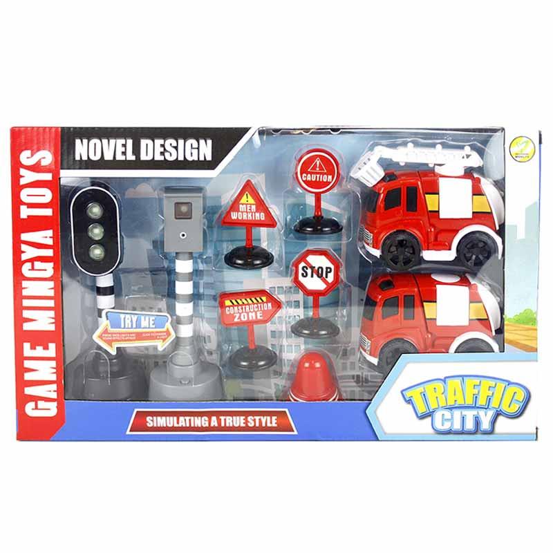 2 veículos emergência 10cm acessórios luz e som