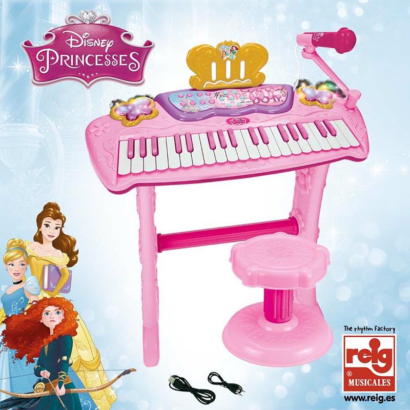 Órgão com pedal e banquinho Princesas da Disney