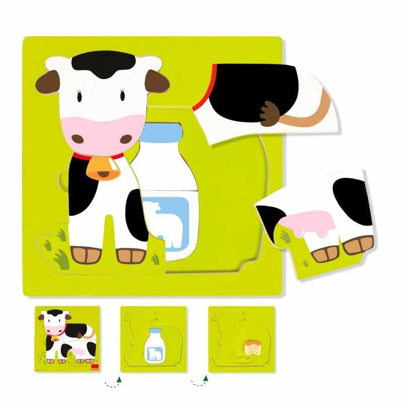 Puzzle de três níveis vaca