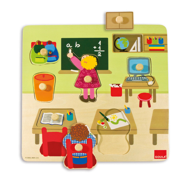 Puzzle escola 7 peças madeira
