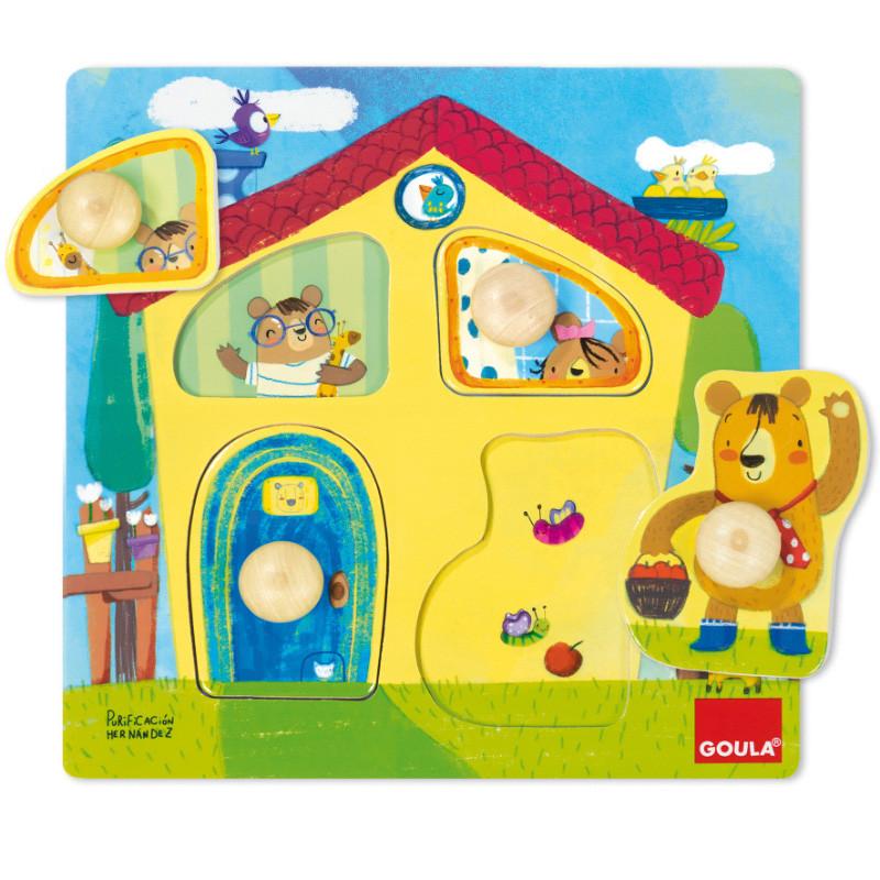 Puzzle casa familia dos ursos madeira
