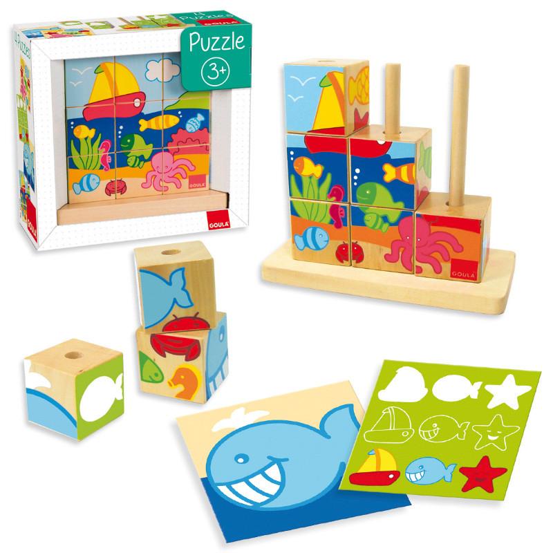 Puzzle cubos de madeira