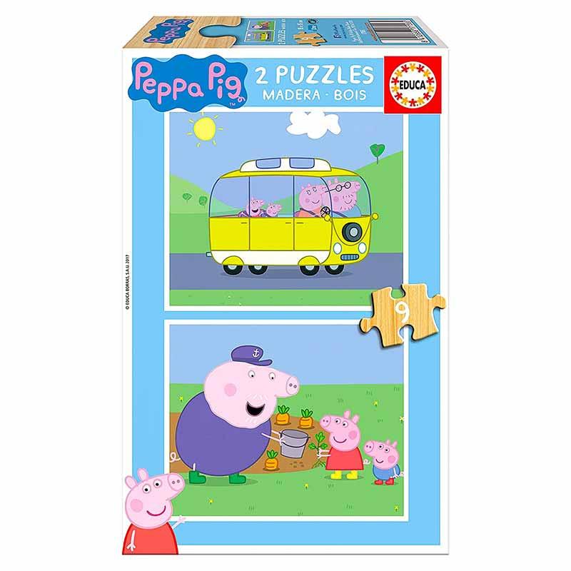 Educa Puzzle madeira 2x9 Peppa Pig