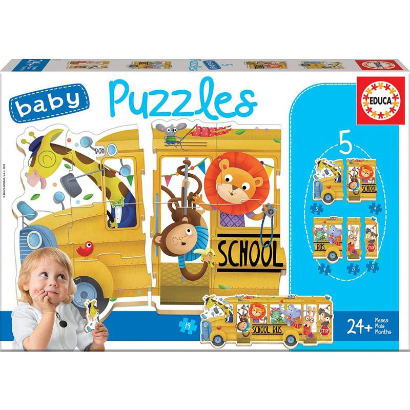 Educa 5 baby puzzles school bus