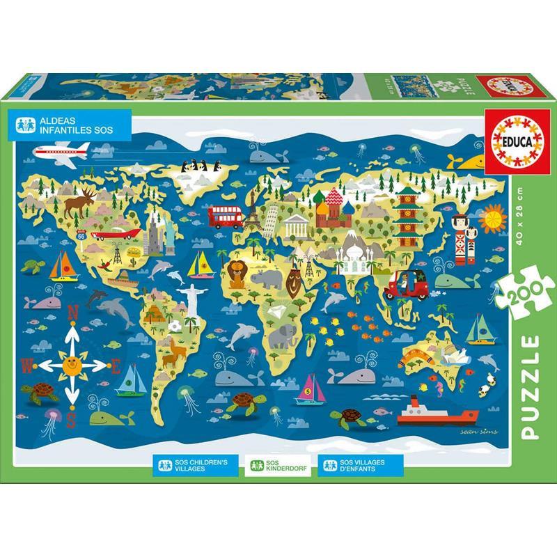Educa puzzle 200 Mapa-múndi, Sean Sims