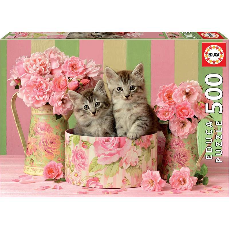 Educa Puzzle 500 gatinhos com rosas