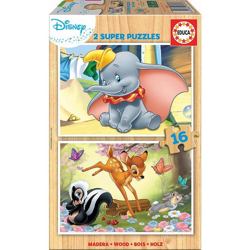 Educa Puzzle Madeira 2x16 Dumbo e Bambi