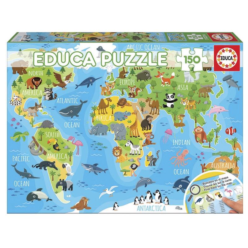 Educa puzzle 150 mapa-múndi dos animais