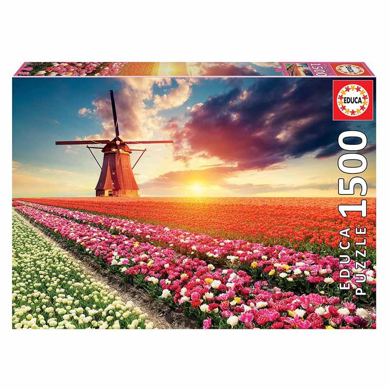 Educa puzzle 1500 paisagens de tulipas