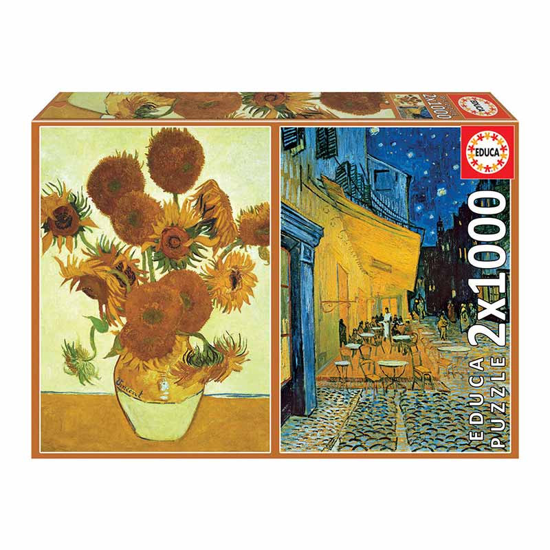 Educa puzzle 2X1000 girassóis+terraça Van Gogh