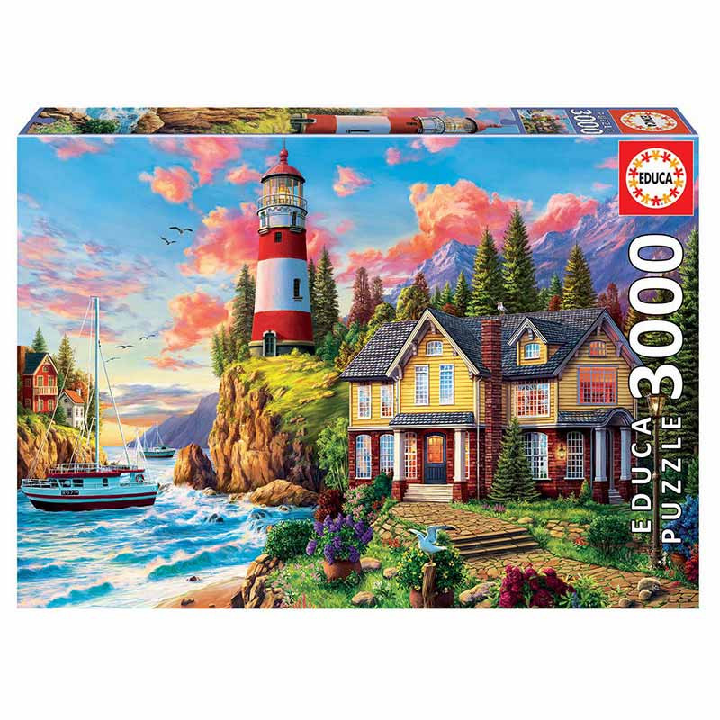 Educa puzzle 3000  farol perto do oceano