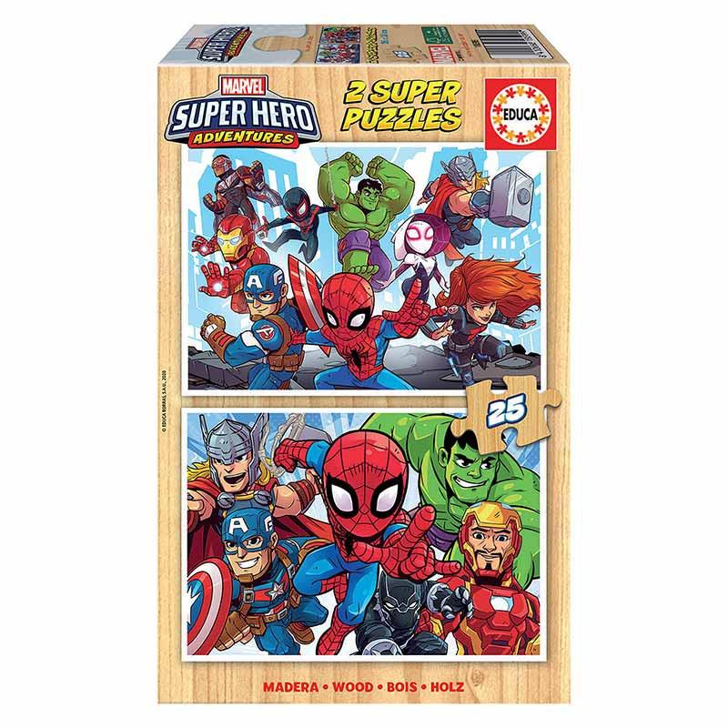 Educa puzzle maderia 2x25 Super Herois