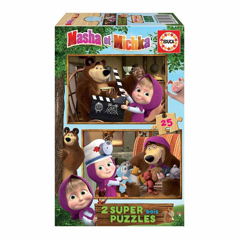 Educa puzzle madeira 2x25 Masha e o urso