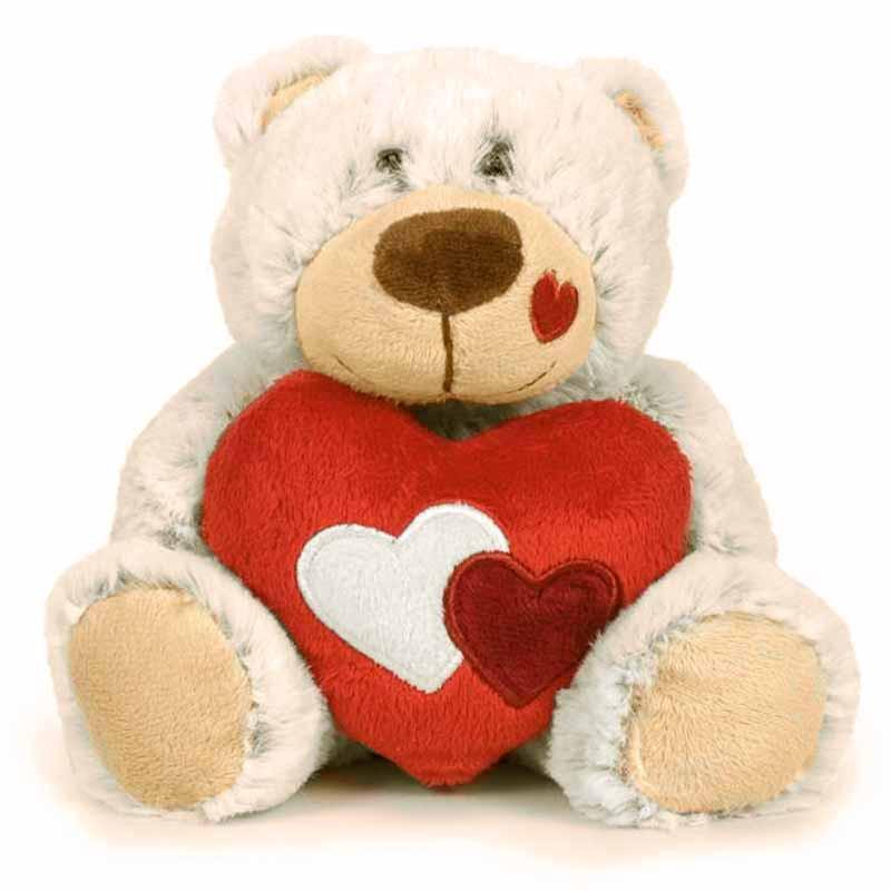 Ursinho branco São Valentim 22cm