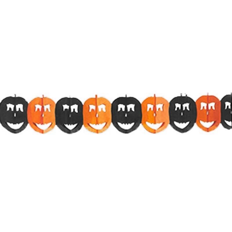 Grinalda de Halloween com abóboras