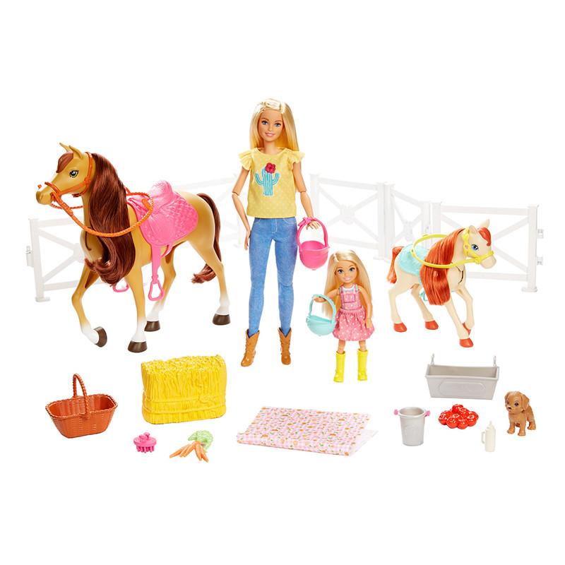 Barbie e Chelsea com cavalos e acessórios