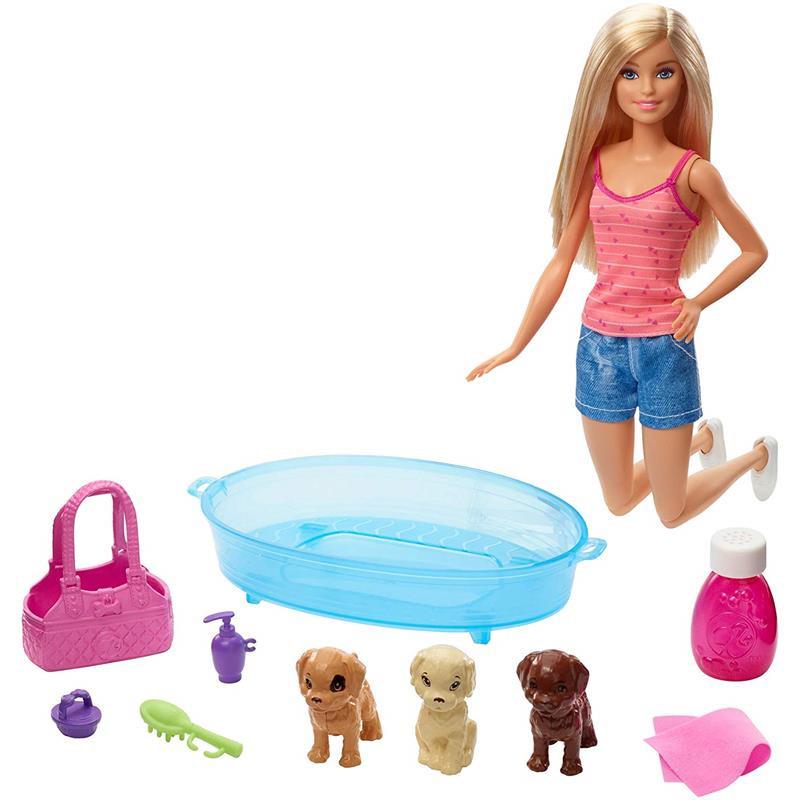 Barbie com cachorrinhos e banheira