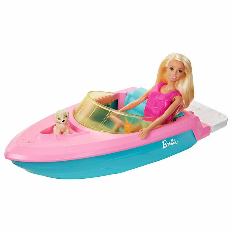 Barbie com fato de banho, barco e mascote
