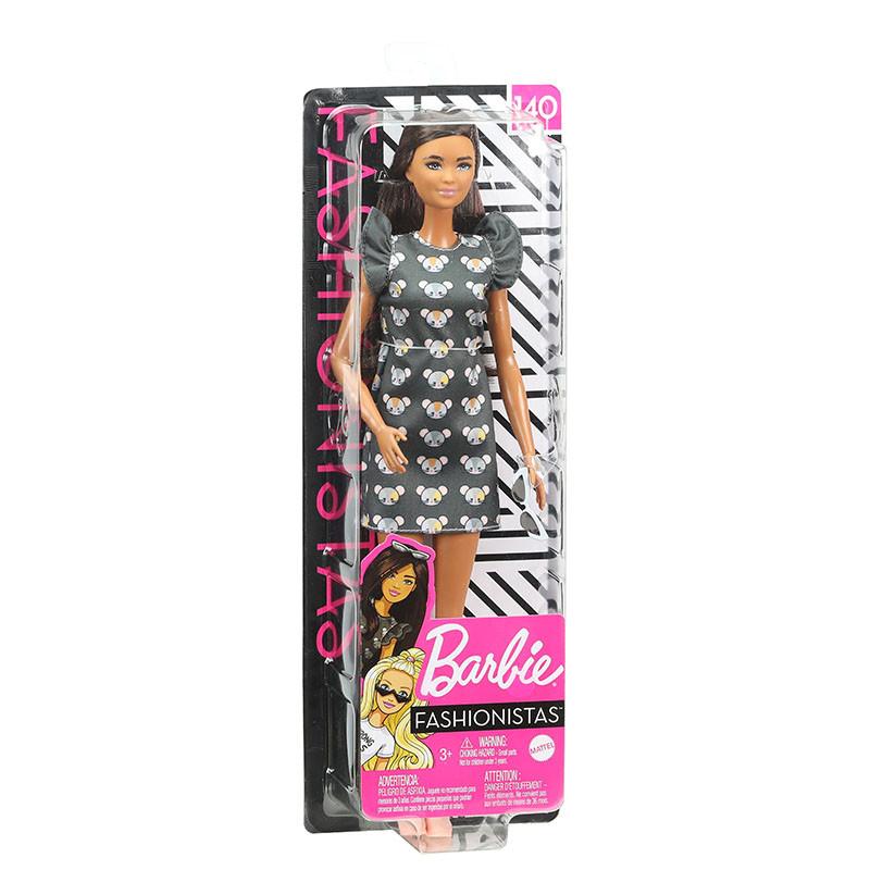 Barbie Fashionista morena vestido estampado ratos