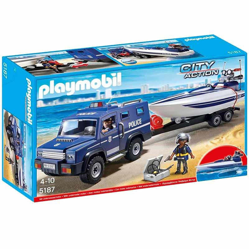 Playmobil City action camião da Polícia com Lancha