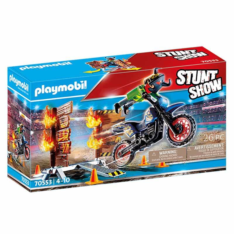 Playmobil Stuntshow Moto com parede de fogo