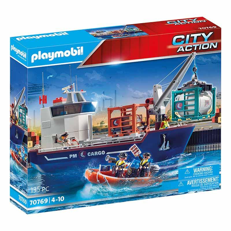Grande Navio porta-contentores com Barco Aduaneiro