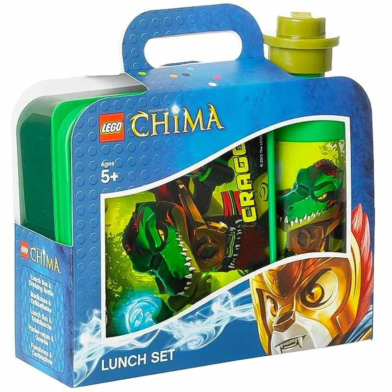 Lancheira e garrafa LEGO Chima verde