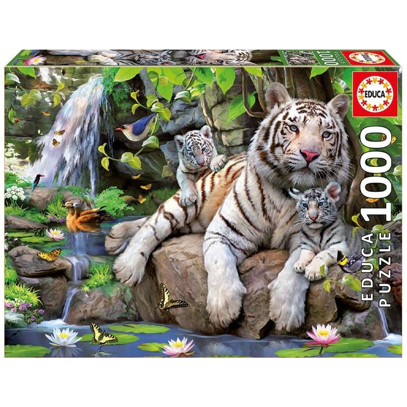 Educa puzzle 1000 tigres brancos de bengala